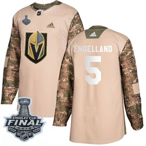 Adidas Deryk Engelland Vegas Golden Knights Youth Authentic Camo Veterans Day Practice 2018 Stanley Cup Final Patch Jersey - Gol