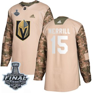 Adidas Jon Merrill Vegas Golden Knights Youth Authentic Camo Veterans Day Practice 2018 Stanley Cup Final Patch Jersey - Gold