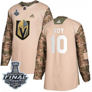 Adidas Nicolas Roy Vegas Golden Knights Youth Authentic Camo Veterans Day Practice 2018 Stanley Cup Final Patch Jersey - Gold