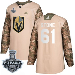 Adidas Mark Stone Vegas Golden Knights Youth Authentic Camo Veterans Day Practice 2018 Stanley Cup Final Patch Jersey - Gold