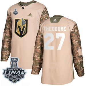 Adidas Shea Theodore Vegas Golden Knights Youth Authentic Camo Veterans Day Practice 2018 Stanley Cup Final Patch Jersey - Gold