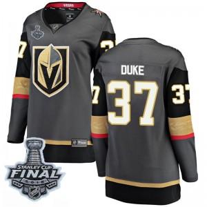 Fanatics Branded Reid Duke Vegas Golden Knights Women's Breakaway Black Home 2018 Stanley Cup Final Patch Jersey - Gold
