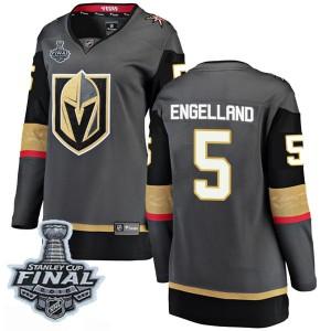 Fanatics Branded Deryk Engelland Vegas Golden Knights Women's Breakaway Black Home 2018 Stanley Cup Final Patch Jersey - Gold