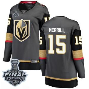Fanatics Branded Jon Merrill Vegas Golden Knights Women's Breakaway Black Home 2018 Stanley Cup Final Patch Jersey - Gold