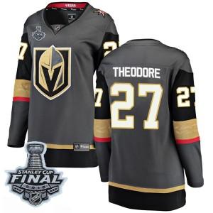 Fanatics Branded Shea Theodore Vegas Golden Knights Women's Breakaway Black Home 2018 Stanley Cup Final Patch Jersey - Gold