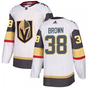 Adidas Patrick Brown Vegas Golden Knights Men's Authentic ized White Away Jersey - Gold