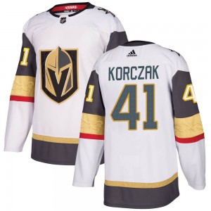 Adidas Kaedan Korczak Vegas Golden Knights Men's Authentic White Away Jersey - Gold