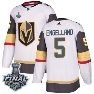 Adidas Deryk Engelland Vegas Golden Knights Youth Authentic White Away 2018 Stanley Cup Final Patch Jersey - Gold