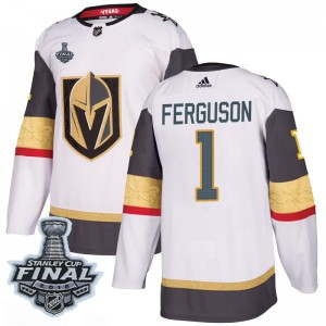 Adidas Dylan Ferguson Vegas Golden Knights Youth Authentic White Away 2018 Stanley Cup Final Patch Jersey - Gold