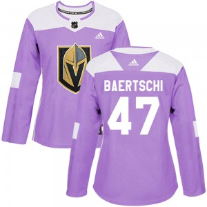 Adidas Sven Baertschi Vegas Golden Knights Women's Authentic Fights Cancer Practice Jersey - Purple
