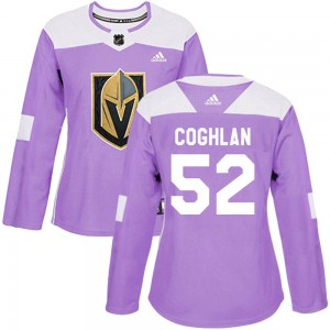 Adidas Dylan Coghlan Vegas Golden Knights Women's Authentic ized Fights Cancer Practice Jersey - Purple