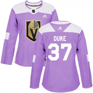 Adidas Reid Duke Vegas Golden Knights Women's Authentic Fights Cancer Practice Jersey - Purple
