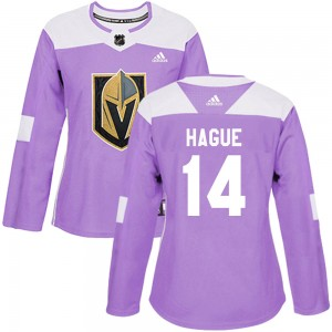 Adidas Nicolas Hague Vegas Golden Knights Women's Authentic Fights Cancer Practice Jersey - Purple