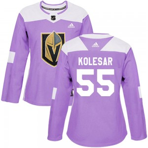 Adidas Keegan Kolesar Vegas Golden Knights Women's Authentic ized Fights Cancer Practice Jersey - Purple