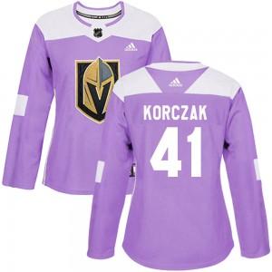Adidas Kaedan Korczak Vegas Golden Knights Women's Authentic Fights Cancer Practice Jersey - Purple