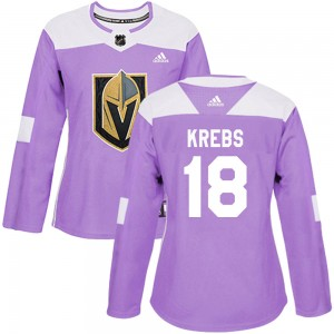 Adidas Peyton Krebs Vegas Golden Knights Women's Authentic ized Fights Cancer Practice Jersey - Purple