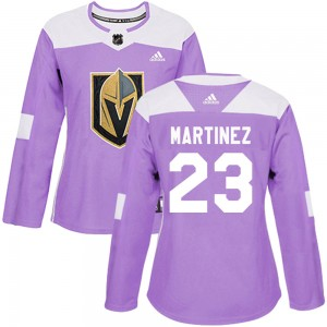 Adidas Alec Martinez Vegas Golden Knights Women's Authentic ized Fights Cancer Practice Jersey - Purple
