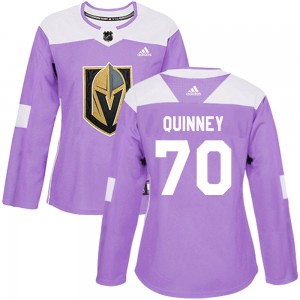Adidas Gage Quinney Vegas Golden Knights Women's Authentic Fights Cancer Practice Jersey - Purple