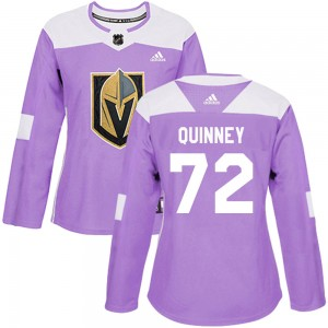 Adidas Gage Quinney Vegas Golden Knights Women's Authentic ized Fights Cancer Practice Jersey - Purple