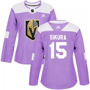 Adidas Dylan Sikura Vegas Golden Knights Women's Authentic Fights Cancer Practice Jersey - Purple