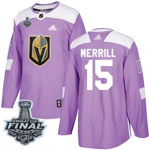 Adidas Jon Merrill Vegas Golden Knights Men's Authentic Fights Cancer Practice 2018 Stanley Cup Final Patch Jersey - Purple