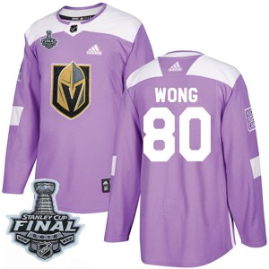 Adidas Tyler Wong Vegas Golden Knights Men's Authentic Fights Cancer Practice 2018 Stanley Cup Final Patch Jersey - Purple