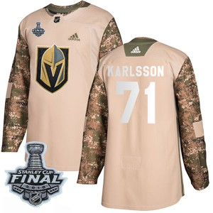 Adidas William Karlsson Vegas Golden Knights Men's Authentic Camo Veterans Day Practice 2018 Stanley Cup Final Patch Jersey - Go