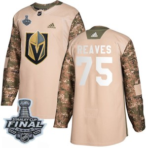 Adidas Ryan Reaves Vegas Golden Knights Men's Authentic Camo Veterans Day Practice 2018 Stanley Cup Final Patch Jersey - Gold