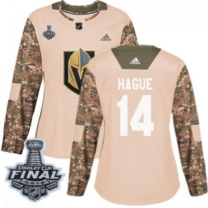 Adidas Nicolas Hague Vegas Golden Knights Women's Authentic Camo Veterans Day Practice 2018 Stanley Cup Final Patch Jersey - Gol