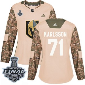 Adidas William Karlsson Vegas Golden Knights Women's Authentic Camo Veterans Day Practice 2018 Stanley Cup Final Patch Jersey -
