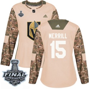 Adidas Jon Merrill Vegas Golden Knights Women's Authentic Camo Veterans Day Practice 2018 Stanley Cup Final Patch Jersey - Gold