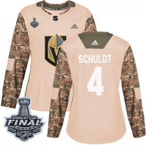 Adidas Jimmy Schuldt Vegas Golden Knights Women's Authentic Camo Veterans Day Practice 2018 Stanley Cup Final Patch Jersey - Gol