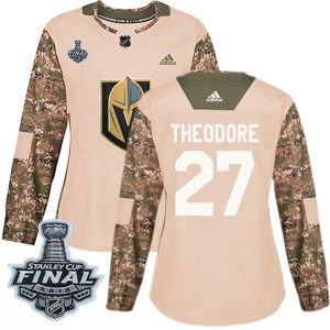 Adidas Shea Theodore Vegas Golden Knights Women's Authentic Camo Veterans Day Practice 2018 Stanley Cup Final Patch Jersey - Gol