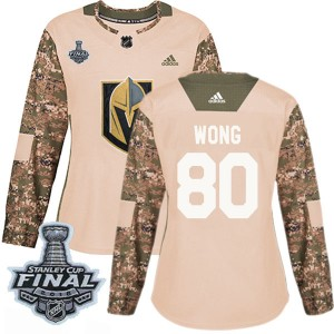 Adidas Tyler Wong Vegas Golden Knights Women's Authentic Camo Veterans Day Practice 2018 Stanley Cup Final Patch Jersey - Gold