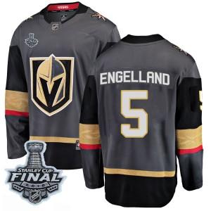 Fanatics Branded Deryk Engelland Vegas Golden Knights Youth Breakaway Black Home 2018 Stanley Cup Final Patch Jersey - Gold