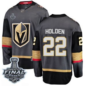 Fanatics Branded Nick Holden Vegas Golden Knights Youth Breakaway Black Home 2018 Stanley Cup Final Patch Jersey - Gold