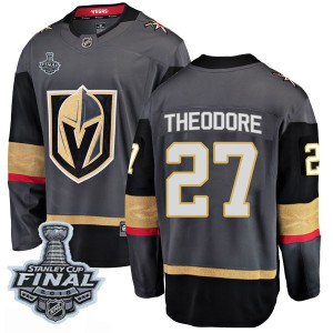 Fanatics Branded Shea Theodore Vegas Golden Knights Youth Breakaway Black Home 2018 Stanley Cup Final Patch Jersey - Gold