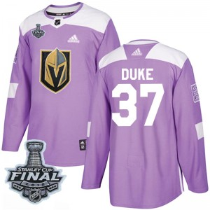 Adidas Reid Duke Vegas Golden Knights Youth Authentic Fights Cancer Practice 2018 Stanley Cup Final Patch Jersey - Purple