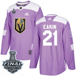 Adidas Cody Eakin Vegas Golden Knights Youth Authentic Fights Cancer Practice 2018 Stanley Cup Final Patch Jersey - Purple