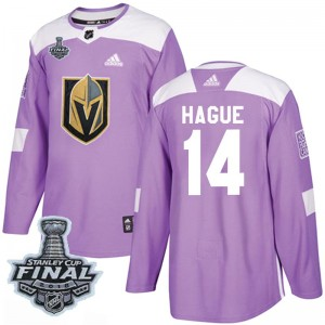 Adidas Nicolas Hague Vegas Golden Knights Youth Authentic Fights Cancer Practice 2018 Stanley Cup Final Patch Jersey - Purple