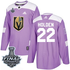 Adidas Nick Holden Vegas Golden Knights Youth Authentic Fights Cancer Practice 2018 Stanley Cup Final Patch Jersey - Purple