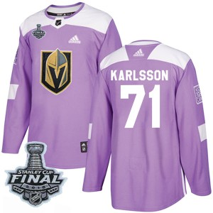 Adidas William Karlsson Vegas Golden Knights Youth Authentic Fights Cancer Practice 2018 Stanley Cup Final Patch Jersey - Purple