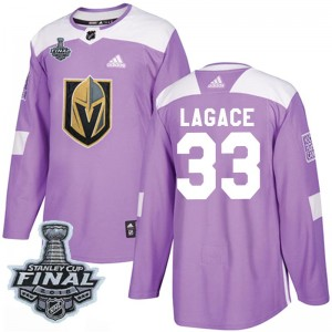 Adidas Maxime Lagace Vegas Golden Knights Youth Authentic Fights Cancer Practice 2018 Stanley Cup Final Patch Jersey - Purple