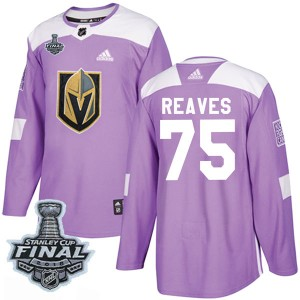 Adidas Ryan Reaves Vegas Golden Knights Youth Authentic Fights Cancer Practice 2018 Stanley Cup Final Patch Jersey - Purple