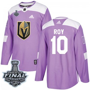 Adidas Nicolas Roy Vegas Golden Knights Youth Authentic Fights Cancer Practice 2018 Stanley Cup Final Patch Jersey - Purple