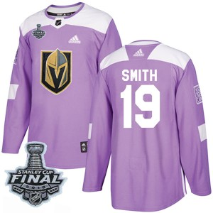 Adidas Reilly Smith Vegas Golden Knights Youth Authentic Fights Cancer Practice 2018 Stanley Cup Final Patch Jersey - Purple