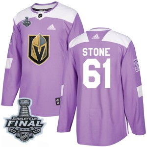 Adidas Mark Stone Vegas Golden Knights Youth Authentic Fights Cancer Practice 2018 Stanley Cup Final Patch Jersey - Purple