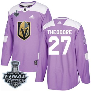 Adidas Shea Theodore Vegas Golden Knights Youth Authentic Fights Cancer Practice 2018 Stanley Cup Final Patch Jersey - Purple