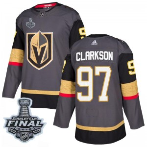 Adidas David Clarkson Vegas Golden Knights Youth Authentic Gray Home 2018 Stanley Cup Final Patch Jersey - Gold