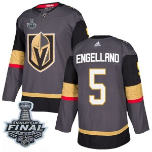 Adidas Deryk Engelland Vegas Golden Knights Youth Authentic Gray Home 2018 Stanley Cup Final Patch Jersey - Gold